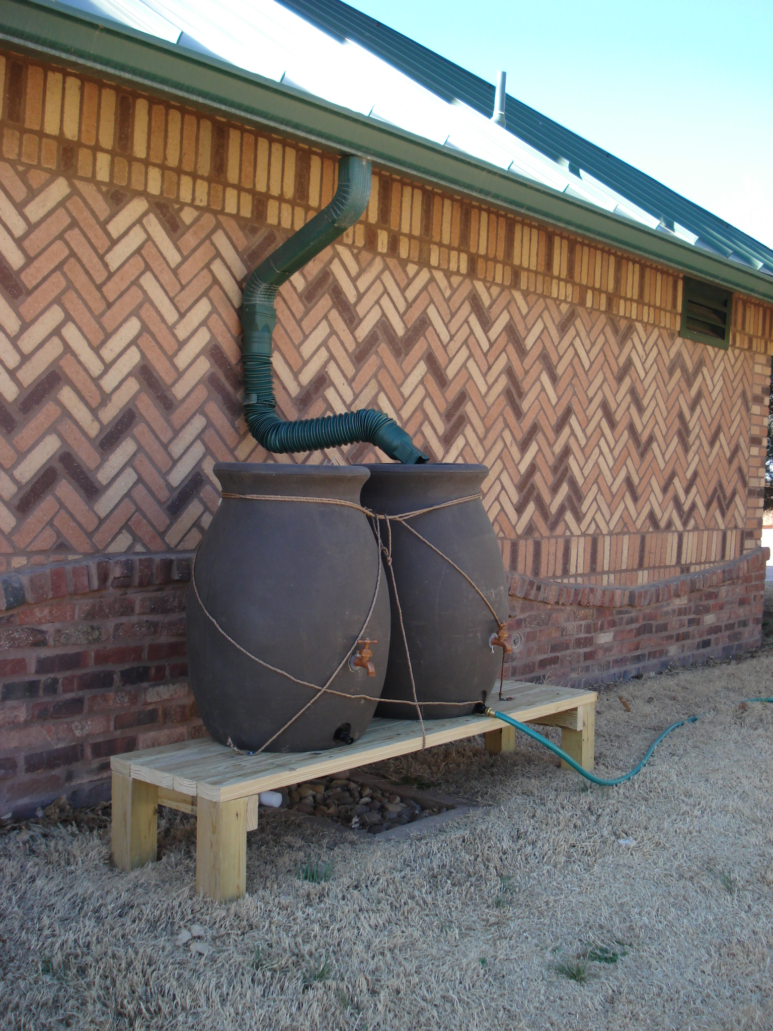 Rain barrels outside Herpetarium